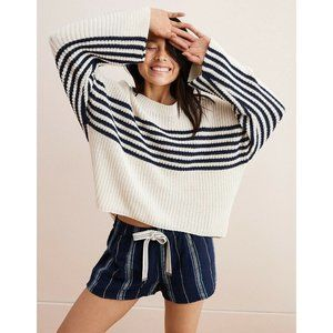 Aerie Striped Crewneck Pullover Oversized Sweater
